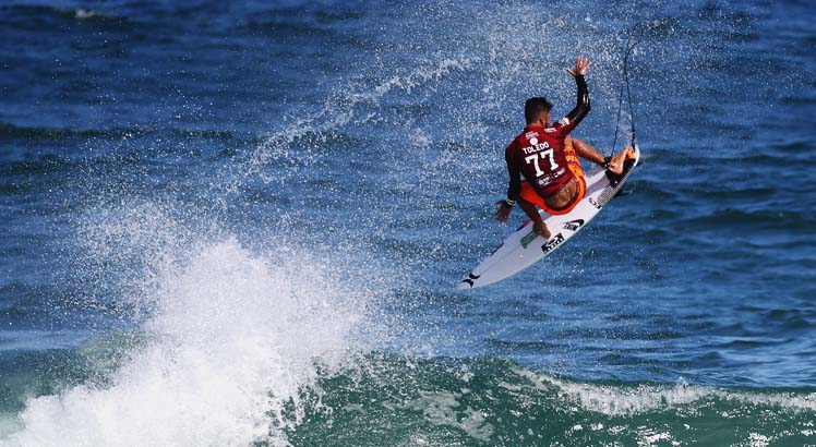 Filipe Toledo winning his Round 1 heat with a 9.70 aerial during Round 1 at the Oi Rio Pro in Barra De Tijuca, Rio, Brasil.