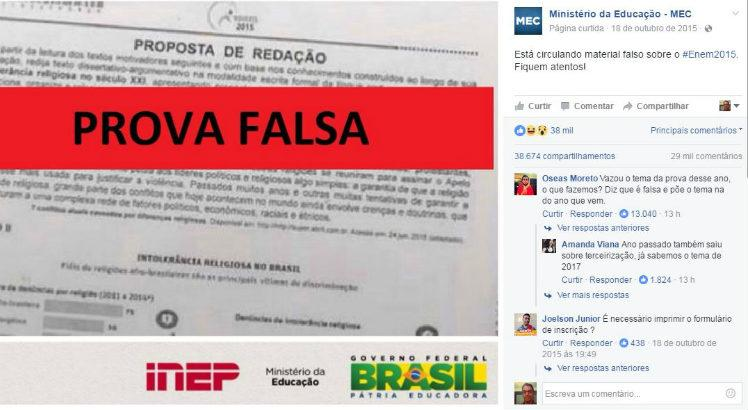 Aviso do MEC sobre material falso do Enem